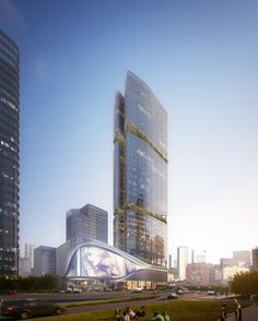 Aedas' new commercial complex in Shenzhen reveals Chinese bamboo totem. Designed by Aedas, Gmond International Building is a representative regeneration Hotel Design Architecture, Commercial Architecture, Futuristic Architecture, Amazing Architecture, China Architecture, Classical Architecture, Mix Use Building, Tower Building, High Rise Building