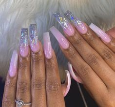 Coffin Shape Nails, Coffin Nails Long, Bling Nails, Swag Nails, Long Acrylic Nails, Pink Acrylics, Exotic Nails, Seasonal Nails, Fire Nails