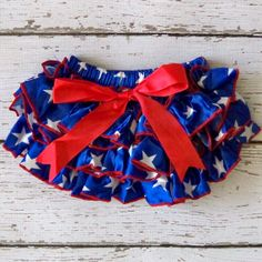 Baby Girl Patriotic Bloomers Satin Ruffle by LolaBeanClothing, $12.95