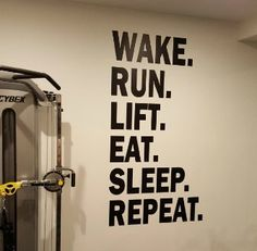 Gym Wall Decor Work Out Decal Wake Run Lift Eat Sleep Repeat Graphic