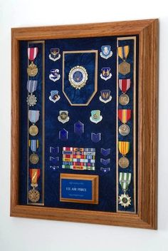 All American Gifts Military Medal Display Case - - Wall Mount Shadow Box (Navy Emblem/Blue Velvet) Medal Display Case, Award Display, Coin Display, Display Cases, Display Ideas, Medal Displays, Trophy Display, Military Shadow Box, Military Pins