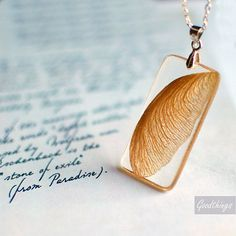 Resin jewelry Autumn Maple Seed Botanical Necklace - nature inspired handmade resin jewelry - Nature lover gardener gift