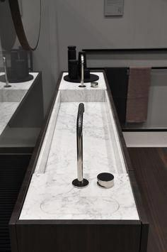 The slim depth of vanity with integrated washbasin allows to save space while offering ample concealed storage for any bathroom. The small technical tops allow to install taps and to inspect the waste. Here displayed in Carrara marble and smoked oak. Minimalist Bathroom, Modern Bathroom, Small Bathroom, Master Bathroom, Bathroom Cost, Bad Inspiration, Bathroom Inspiration, Ideas Baños, Best Bathroom Vanities