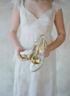 Beautiful gold embroidered bridal shoes