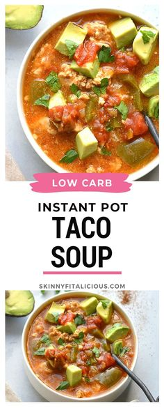 Pot Taco Soup Instant Pot Taco Soup made lighter and healthy. An easy low carb meal!Instant Pot Taco Soup made lighter and healthy. An easy low carb meal! Creamy Soup Recipes, Healthy Soup Recipes, Low Calorie Recipes, Real Food Recipes, Low Calorie Soups, Hcg Recipes, Healthy Meals, Yummy Recipes, Healthy Food