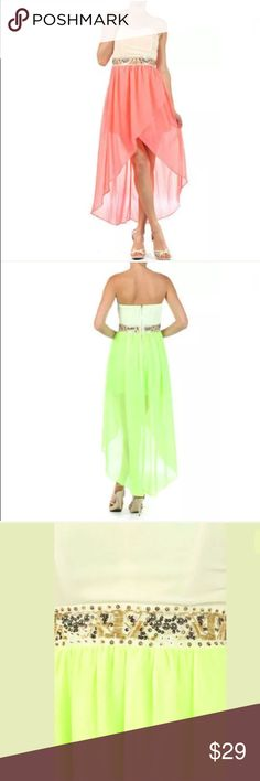 Neon Chiffon Strapless Beaded Cocktail Dress This is one of our favorite dresses of the season! Featuring a neon duo tone strapless dress. Popular hi lo style hem with overlay. Embellished waistline of gold sequins, bugle beads, and silver studs. Sweetheart neckline with asymmetrical style cut across the bust. Beautiful chiffon material. Backside zipper. Boning in the bust.   Neon pink/coral.  Made of: 100% Polyester Dresses High Low