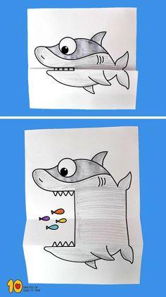 Hydroquinone Dark Spot Corrector Remover For Face & Melasma Treatment Fade Cream - Contains Vitamin C, Salicylic Acid, Kojic Acid, Azelaic Acid, Lactic Acid Peel Surprise Folding Paper - Hai # Tierhandwerk # Ozeanhandwerk # Haie # Hai # Kidsp. Summer Crafts, Fun Crafts, Crafts For Kids, Arts And Crafts, Wood Crafts, Canvas Crafts, Summer Diy, Creative Crafts, Shark Craft