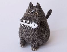 "Fat Cat Pincushion :: I might make the fish ""whole"" w/a bit of shading variety in whites ..."