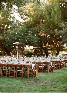Long Tables With Festoon Lighting