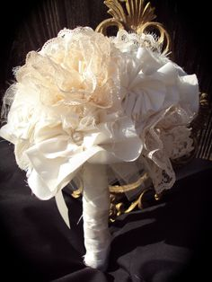 fabric wedding bouquet.  Made out of my mother and grandmother wedding dresses