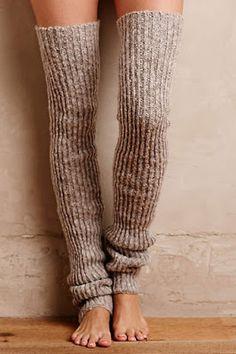 Ribbed Over-The-Knee Legwarmers. It's Flash Dance: Thigh High Socks, Knee Socks, Thigh Highs, Boot Socks, Guêtres Au Crochet, Mode Crochet, Knooking, Crochet Leg Warmers, Winter Wear