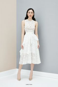 Simple White Dress, Simple Dresses, Elegant Dresses, Vintage Dresses, White Midi Dress, Lace Dress, Cocktail Outfit, Formal, Dress To Impress