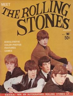 Meet The Rolling Stones Magazine cover. Rolling Stones Albums, Rolling Stones Logo, Vintage Concert Posters, Vintage Posters, Rolling Stone Magazine Cover, Rollin Stones, Rock Poster, Charlie Watts, Band Posters