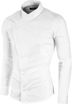 2f43817df9eb MODERNO - Slim Fit Asymmetrisch Freizeit Herrenhemd (MOD1430LS) Weiss EU  XL  Amazon.de  Bekleidung