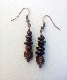 Garnet chips and copper earrings by Mercy's Fancy