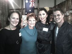 Australia's history challenge participants pose with Pauline Hanson and Johny Ruffo..