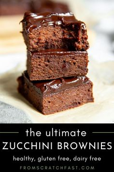 These double chocolate zucchini brownies will blow your mind! They're naturally sweetened and gluten free yet have a decadent flavor that you're going to love. #zucchinibrownies #healthybrownies #glutenfree #zucchinibrownierecipe Fun Baking Recipes, Real Food Recipes, Dessert Recipes, Yummy Food, Fast Recipes, Kitchen Recipes, Chocolate Zucchini Brownies, Healthy Brownies, Easy Gluten Free Desserts