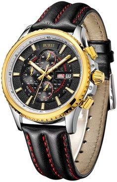 BUREI Men's Luminous Chronograph Day and Date Watch with Black Calfskin Band, Gold Bezel Black Dial Amazing Watches, Beautiful Watches, Cool Watches, Watches For Men, Affordable Watches, Fine Watches, Seiko Watches, Luxury Watches, Fashion Watches