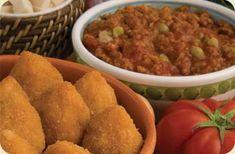 Arancino mignon al ragù 25gr - Crudi Fried Rice, Cornbread, Fries, Ethnic Recipes, Food, Millet Bread, Essen, Meals, Nasi Goreng