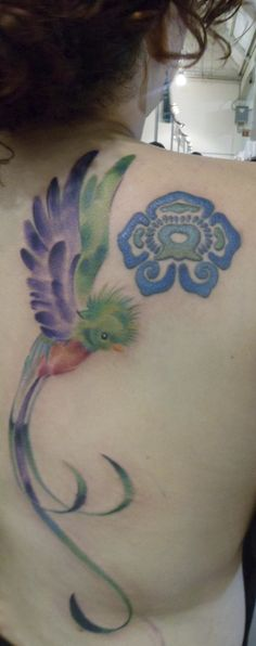 My first tattoo a prehispanic flower which represents a cycle in my life. My second tattoo a quetzal representing freedom, made with watercolor technique by Pablo Porno (one of the best tattoo artist I´ve seen in Mexico). I know both look so different, but I just love them.