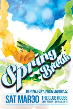 Spring Break Summer Party Flyer  Party Flyer Templates For Clubs