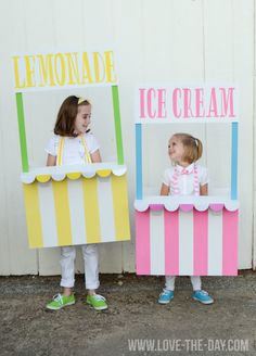 DIY Costume Ideas for Kids:: Lemonade and Ice Cream Stands! These kids Halloween costumes are after our hearts! Looks Halloween, Halloween Costumes For Kids, Halloween Diy, Ice Cream Theme, Ice Cream Party, Ice Cream Costume, Ice Cream Stand, Candyland, Thanksgiving Crafts For Kids