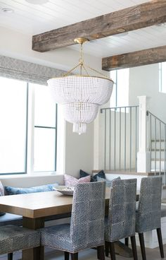 Jacqueline Two-Tier Pendant in White Glass by Aerin. This stunning white beaded…