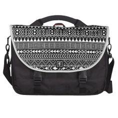 Aztec Geometric Black pattern on White Laptop Bags