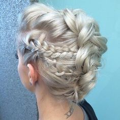 Platinum Blonde Braided Mohawk Updo
