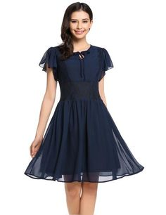 Navy blue Butterfly Sleeve Keyhole Front Lace Chiffon Skater Casual Dress