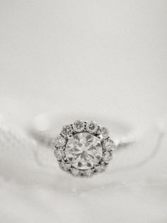 Round cut solitaire engagement ring: http://www.stylemepretty.com/little-black-book-blog/2015/10/06/classic-blush-langdon-farms-wedding/ | Photography: Alexandra Grace - http://alexgracephotography.com/