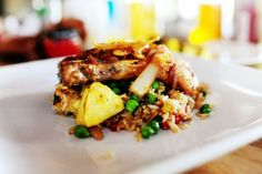 Pork chops with pineapple fried rice from the Pioneer Woman