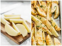 Crispy Garlic Baked Potato Wedges are soft pillows on the inside, and crunchy on the outside with a good kick of garlic and parmesan cheese! Garlic Baked Potatoes, Parmesan Roasted Potatoes, Cheesy Potatoes, Crispy Sweet Potato Wedges, Potato Wedges Baked, Veggie Tray, Vegetable Dishes, Tacos, Veggies