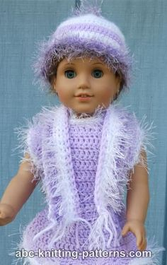 American Girl Doll Fun Fur Hat and Scarf