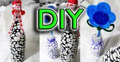 DIY→Decora botellas efecto craquelado con cascarón de huevo