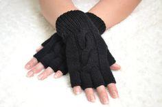Hand-knitted black half finger women's gloves (merino wool)
