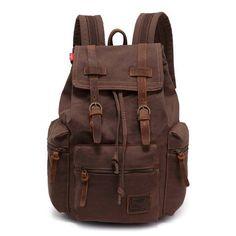 Ibagbar Men's Vintage Canvas Shoulders Backpack Bag Coffee