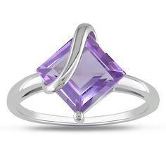M by Miadora Sterling Silver Square-cut Amethyst Fashion Ring