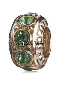 This beautiful peridot green August gold birthstone .925 Sterling Silver European charm fits Pandora, Biagi Trollbeads, Chamilia, and most charm bracelets find out more at adabele.com