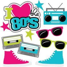 I Heart The SVG cut files for scrapbooking svg files cassette tape svg file sneakers svg file Neon Party, 80s Party, 80s Theme, Scrapbook Titles, Scrapbooking, Cricut, 40th Birthday Parties, 80s Kids, Scrapbook Embellishments