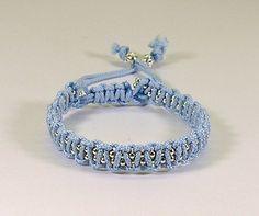 Sparkly Macrame Bracelet - Baby Blue, 10.00