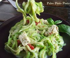 Creamy Pesto Pasta With Grilled Chicken {Paleo} & How To Use A Spiralizer