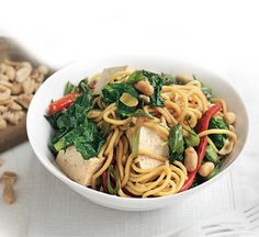 Healthy Recipes: Thousands of perfect meals from Healthy Food Guide Healthy Stir Fry, Healthy Food, Healthy Recipes, Nut Recipes, Stir Fry Recipes, Peanut Noodles, Tofu, Fries, Vegetarian