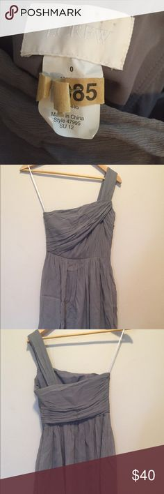 J.Crew silk chiffon dress in gray One strap silk chiffon dress in gray. Perfect for weddings and parties! J. Crew Dresses One Shoulder