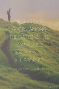 Declare His glory among the nations, His marvelous deeds among all peoples. Amen! www.reachavillage.org