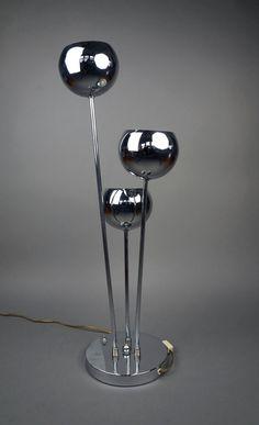 Mid Century Modern Torino Lamp Floor Chrome Silver Standing Lamp Floor Table Desk Lamp Plastic Retro