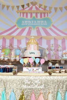 Carnival Birthday Party Pastel Carnival Birthday Party via Kara's Party Ideas Dumbo Birthday Party, Carousel Birthday Parties, Circus Birthday, First Birthday Parties, Birthday Party Themes, Turtle Birthday, Turtle Party, Birthday Ideas, Geek Birthday