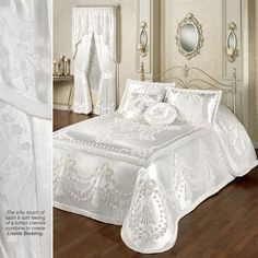 The Lisette White Grande Oversized Bedspread combines the silky touch of satin and the soft feeling of tufted chenille. Sequin Bedding, White Bedding, Taupe Bedroom, Bedroom Decor, Bedroom Ideas, Dream Bedroom, Bed Rug, Natural Bedding, Bedding Sets Online