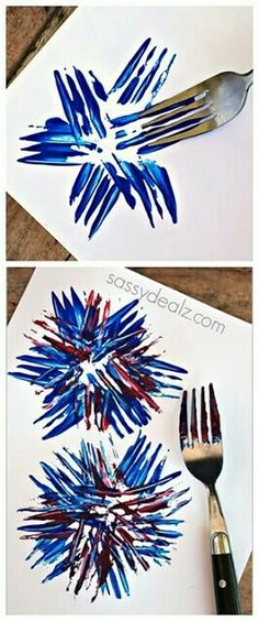 Fireworks Craft using a fork! Great for a kids of July craft or memorial day art project! Fireworks Craft using a fork! Great for a kids of July craft or memorial day art project! Summer Crafts, Holiday Crafts, Halloween Crafts, Firework Painting, Fireworks Craft, Diwali Fireworks, 4th Of July Fireworks, Toddler Crafts, Stampin Up