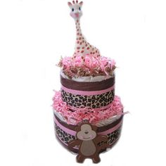 cute girl diaper cake, for a baby shower gift